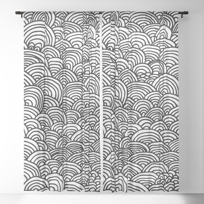 Black and white circular pattern Sheer Curtain