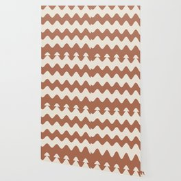 Cavern Clay SW 7701 and Creamy Off White SW7012 Wavy Horizontal Rippled Stripes Wallpaper