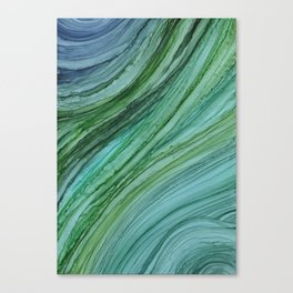 Green Agate Geode Slice Canvas Print