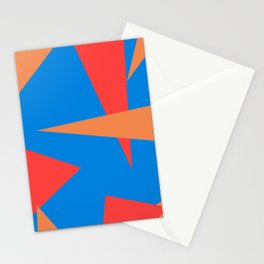 Modern blue orange abstract triangles pattern Stationery Cards