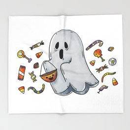 Trick or Treating Halloween Ghost Throw Blanket