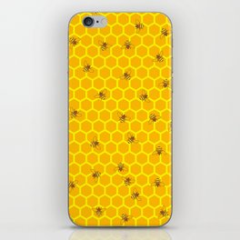 Mind Your Own Beeswax / Bright honeycomb and bee pattern iPhone Skin