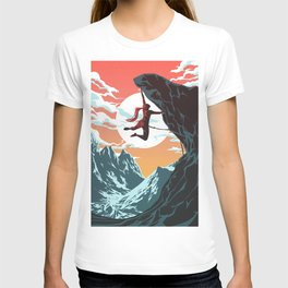 Rock Climbing Girl Vector Art T-shirt