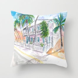 Key West Conch Dream House-Southernmost Corner Garden Sun Throw Pillow