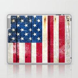 Vintage American Flag On Old Barn Wood Laptop & iPad Skin