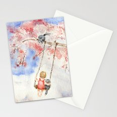 Girl on a Sakura Tree Swing with Cats Stationery Cards