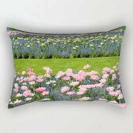 Pink Foxtrot tulips with blue forget-me-nots mix Rectangular Pillow