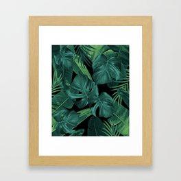 Tropical Summer Night Jungle Leaves Dream #1 #tropical #decor #art #society6 Framed Art Print