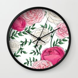Rose Florals and Stems Wall Clock