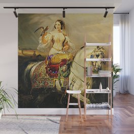 Classical Masterpiece An Algerian Lady Hawking by Horace Vernet Wall Mural