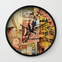 meat Wall Clocks featuring Meat Ladies by Katie Anderson Art