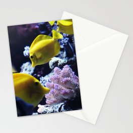 Under the Sea Swimming Yellow Fish Coral Reef Sea Anemone Underwater Photography Wall Art Print Stationery Cards