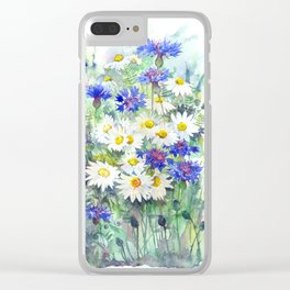 Watercolor chamomile and cornflowers Clear iPhone Case