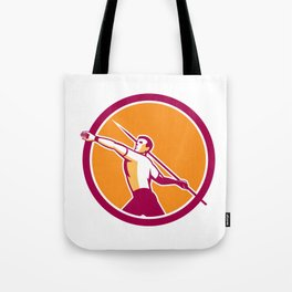 Javelin Throw Track and Field Athlete Circle Tote Bag