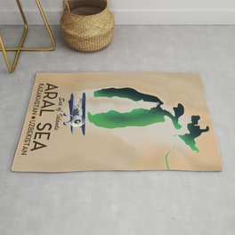 Aral Sea Travel poster map Rug