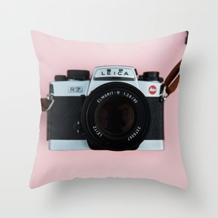 Camera on Blush Pink Background Throw Pillow