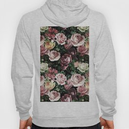 Vintage & Shabby chic - dark retro floral roses pattern Hoody