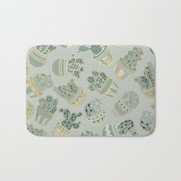 Mint green black faux gold cactus floral Bath Mat