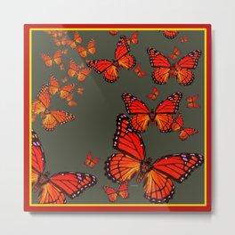 Orange is the  Color Of Monarch Butterflies Metal Print