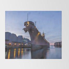 USS Wisconsin at Sunset II Throw Blanket
