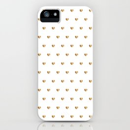 Small gold hearts pattern on white iPhone Case