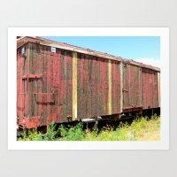 Wooden Rail Car. Art Print