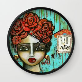 FRIDA PAINTING BAD ASS Wall Clock