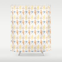 bass Shower Curtains featuring Treble & Bass by applesandcinnamon