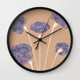 Line Carnations 1b Wall Clock