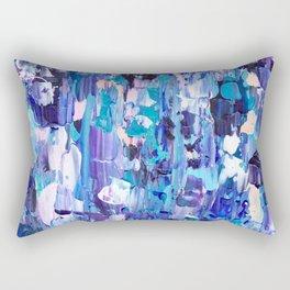 Modern blue acrylic abstract painting brushstrokes Rectangular Pillow