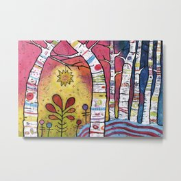 Magical Aspen Forest - Leaning into Starlight Metal Print