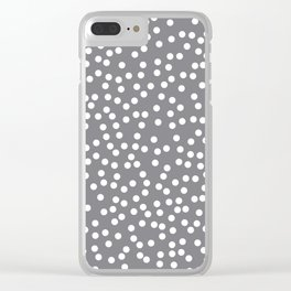 Gray and White Polka Dot Pattern Clear iPhone Case