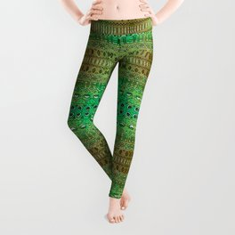Hand drawn green morning Leggings