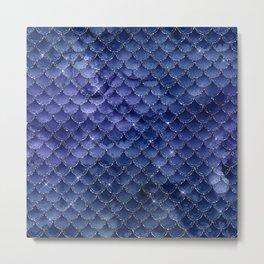 Glam Blue Faux Foil Mermaid Scallops Pattern Metal Print