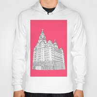 liverpool Hoodies featuring Liverpool Liver Building  by sarah illustration