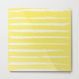 Irregular Stripes Yellow Metal Print