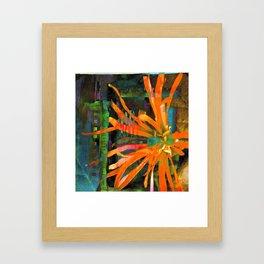 Electric Floral Burst in Tangerine Framed Art Print