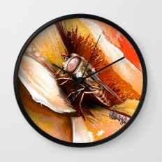 Fly on flower 8 Wall Clock