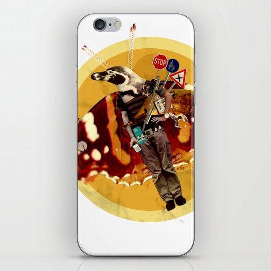 Pinguin Man wants to fly... iPhone & iPod Skin