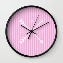 Pink Stripes Love Valentine's Day (Valentine Gift) Wall Clock