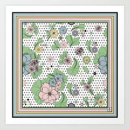 60s floral framed Art Print