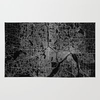 minneapolis Area & Throw Rugs featuring minneapolis map by Line Line Lines