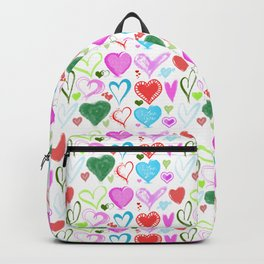 Love, Romance, Hearts - Red Blue Pink Green Backpack