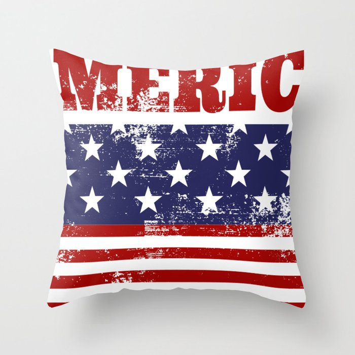 America Grunge Rubber Stamp Design Throw Pillow