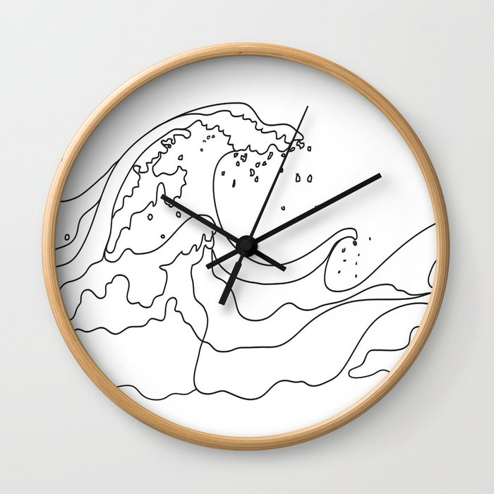 Minimal Line Art Ocean Waves Wall Clock