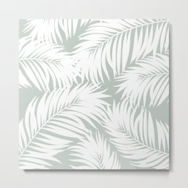 Palm Tree Fronds White on Rainwashed Maui Hawaii Tropical Graphic Design Metal Print