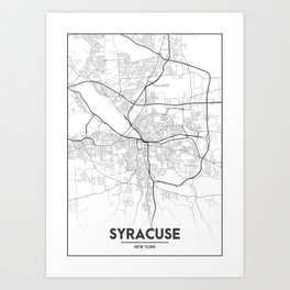 Minimal City Maps - Map Of Syracuse, New York, United States Art Print
