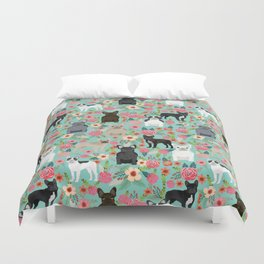 Frenchie floral french bulldog cute pet gifts dog breed must haves florals french bulldogs Duvet Cover