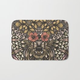 Tiger and flowers Bath Mat