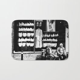 Two old men and lingerie Bath Mat